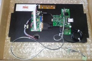 DMD Extender, Raspberry Pi and controller boards are mounted on the back of a laptop screen
