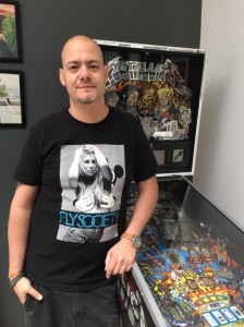 Andras Lafci has fine taste in T-shirts as well as pinball machines