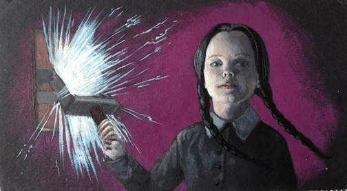 Pinsider ghostrachel's hand painted Wednesday Addams card has glow in the dark paint as an easter egg