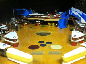 The current design has an upper playfield